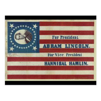 Abraham Lincoln Presidency Campaign Banner Flag Postcard