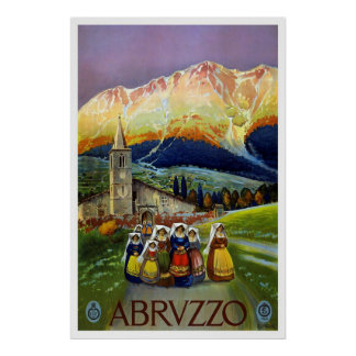 """Abruzzo, Italy"" Vintage Travel Poster"