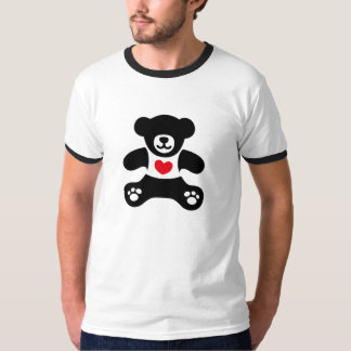 Absolute Teddy Bear - Black simple+paw+heart Shirts