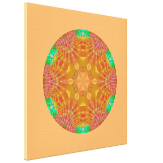 Abstract 367 an orange and gold kaleidoscope canvas print