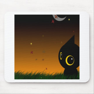 Abstract Animal Cute Night Cat Mousepads