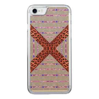 Abstract animal print floral stripes pattern carved iPhone 8/7 case