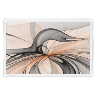 Abstract Anthracite Gray Sienna Shapes Fractal Art Acrylic Tray