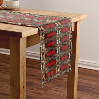 Abstract Architecture Art Coffee & Ox Blood Short Table Runner