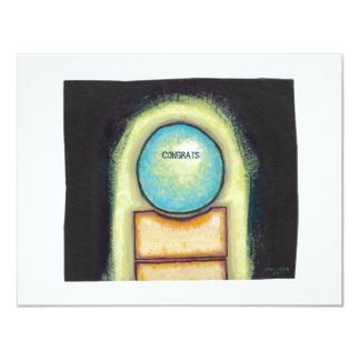 """Abstract art fun blue circle painting your words 4.25"""" x 5.5"""" invitation card"""