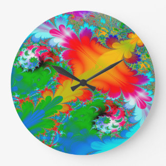 Abstract Art Multi Color Background Large Clock