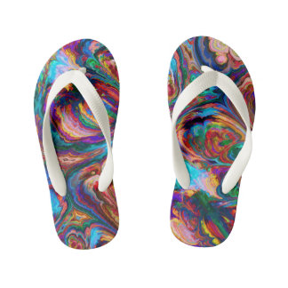Abstract art pretty rainbow Flip flops Thongs