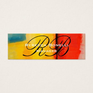 Abstract Art Script Monogram Skinny Business Card
