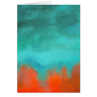 Abstract Art Sky Fire Lava Red Orange Turquoise Card