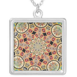 ABSTRACT ART. SQUARE PENDANT NECKLACE