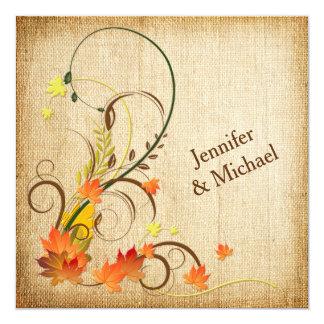 Abstract Autumn Leaves, Vines Wedding Invite 3