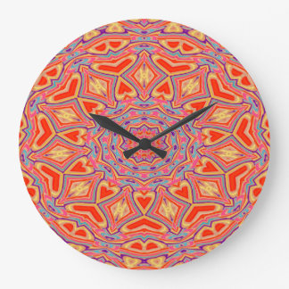 Abstract Background Multi Color Mosaic Pattern Large Clock