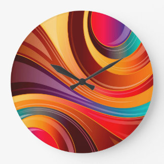 Abstract Background Multi Color Whirl Large Clock