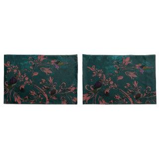 Abstract bird flower pink aqua pillow cases