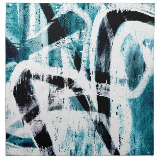 Abstract black and blue graffiti napkin