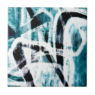 Abstract black and blue graffiti small square tile