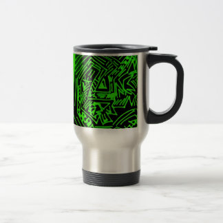 Abstract Black/Green Design #3 Travel Mug