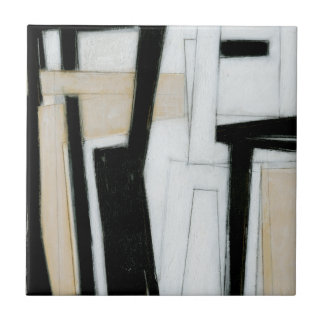 Abstract Black & White Painting Tile
