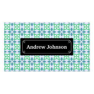 Abstract blue and green geometric pattern pack of standard business cards