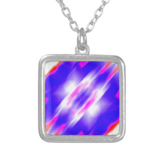 Abstract Blue Dream Square Pendant Necklace