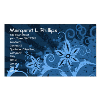 Abstract Blue Floral Business Card