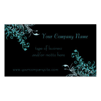 Abstract Blue Floral Embellished Pack Of Standard Business Cards