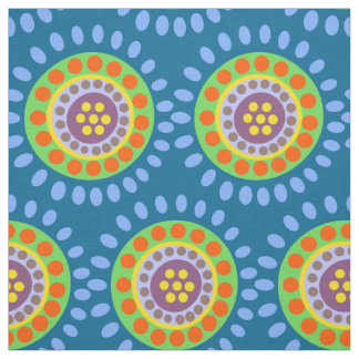 Abstract blue orange purple flowers fabric