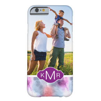 Abstract Blue & Pink Watercolor | Monogram Barely There iPhone 6 Case