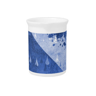 Abstract Blue Rain Drops Design Pitcher
