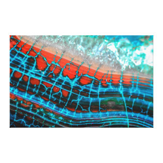 Abstract Blue Red Dragon Vein Agate Sea Canvas Gallery Wrapped Canvas