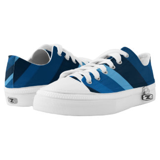 Abstract Blue Stripes Custom Zipz Low Top Kickers Printed Shoes