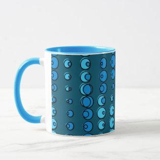 Abstract blue water bubbles mug