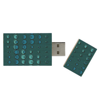 Abstract blue water bubbles wood USB 3.0 flash drive