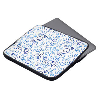 Abstract Blue Watercolor Curves on White Laptop Computer Sleeve