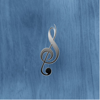 Abstract blue wood grain music clef note standing photo sculpture