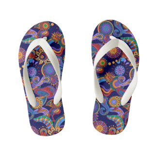 Abstract bright geometric all-over design thongs