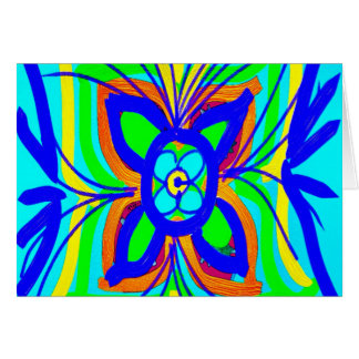Abstract Butterfly Flower Kids Doodle Teal Lime Card