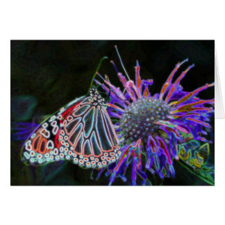 Abstract Butterfly On Flower Nature Art Card