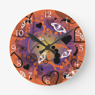 Abstract Butterfly Sphere Orange Purple Round Clock