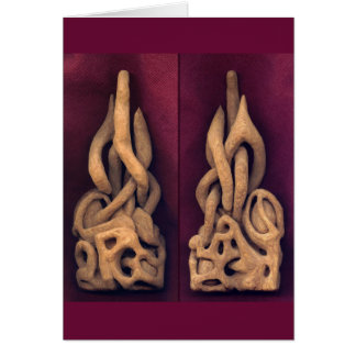 """Abstract"" - carving in wood Greeting Card"