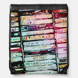 Abstract Cassettes Graphic Drawstring Bag