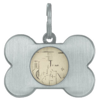 Abstract church by Theo van Doesburg Pet ID Tag