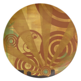 Abstract City Retro Bright Alive Dinner Plate
