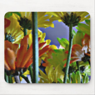 Abstract Colored Daisies Mouse Pad