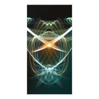 Abstract, colorful glowing lines photo card template