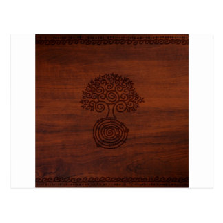 Abstract Cool Dark Wood Tree Carving Post Cards