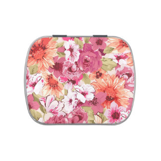 Abstract Elegant Floral design Candy Tins