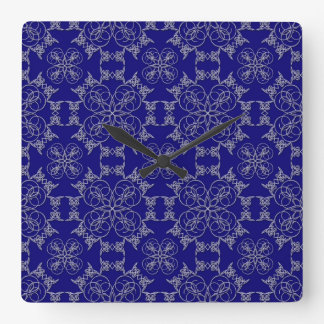 Abstract Embroidery on Prussian Blue Square Clock