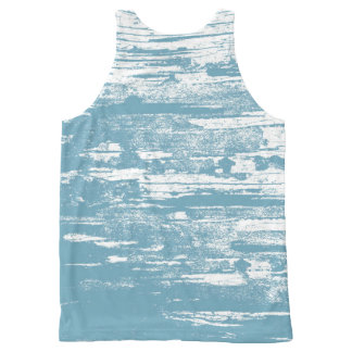 Abstract, Faded, Worn Out, Blue Cool All-Over Print Tank Top