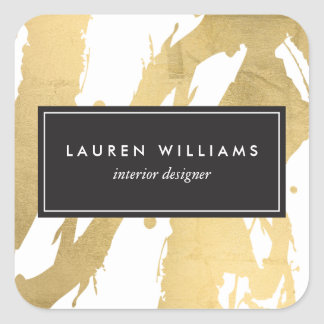 Abstract Faux Gold Brushstrokes on White II Square Sticker